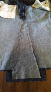 sewn front of skirt